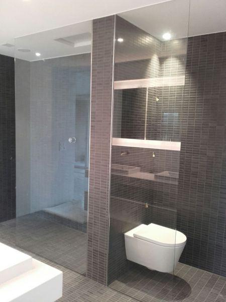 Bad trennwand wc glas wohn design - Fliesen fur keller ...